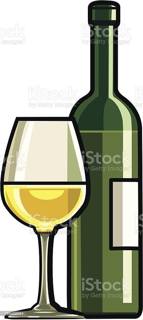 Dry White Wine vector art illustration