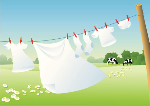 Drying the white laundry