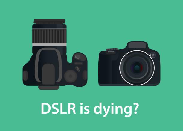 stockillustraties, clipart, cartoons en iconen met de digitale camera dslr is sterven of sterven als gevolg van de technologie - spiegelreflexcamera
