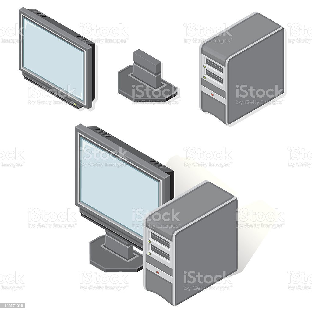 Dsometric Desktop PC computer royalty-free stock vector art