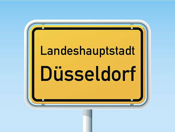 düsseldorf deutsche city road sign - düsseldorf stock-grafiken, -clipart, -cartoons und -symbole