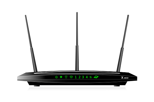Dual Band Wireless SOHO router with  WAN port  and 4 LAN ports. The router has 3 antennas. Black colour.