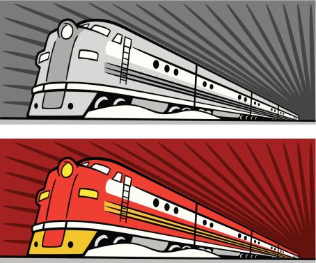 Dual illustrations of speeding diesel trains