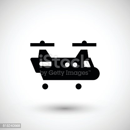 Dual rotor helicopter icon isolated on grey. This illustration - EPS10 vector file, contain transparent elements.