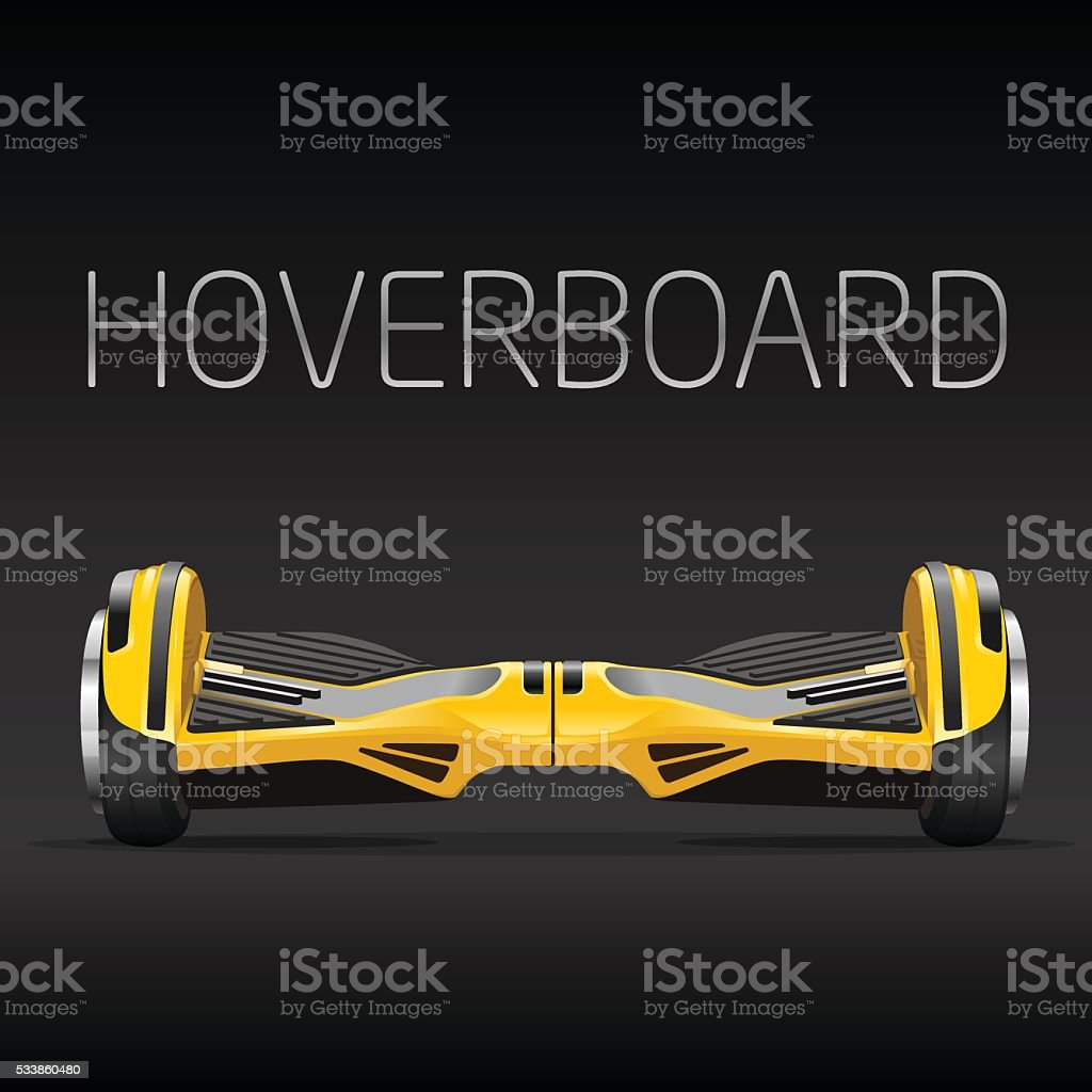dual wheel selfbalance electric hover board vector art illustration