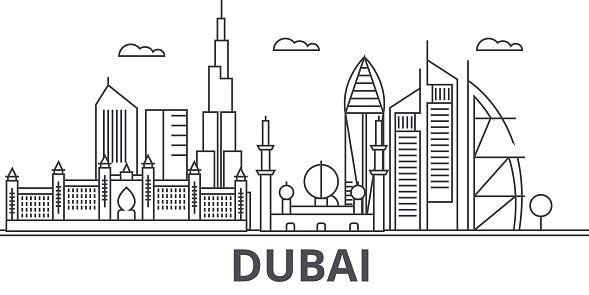 Dubai architecture line skyline illustration. Linear vector cityscape with famous landmarks, city sights, design icons. Landscape wtih editable strokes