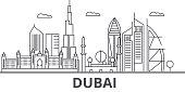 Dubai architecture line skyline illustration. Linear vector cityscape with famous landmarks, city sights, design icons. Editable strokes