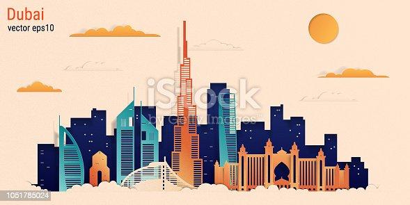 Dubai city colorful paper cut style, vector stock illustration. Cityscape with all famous buildings. Skyline Dubai city composition for design