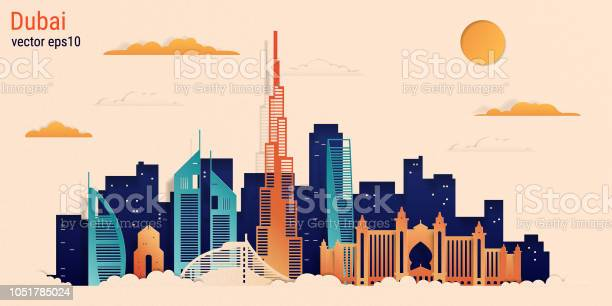 Dubai city colorful paper cut style vector stock illustration vector id1051785024?b=1&k=6&m=1051785024&s=612x612&h=cjxmerrphg2szfsfndgt  wls3ulkiiiixwcptxibiu=