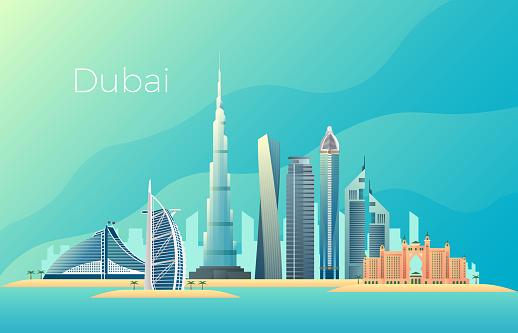 Dubai city landscape. Emirates architecture cityscape vector landmark
