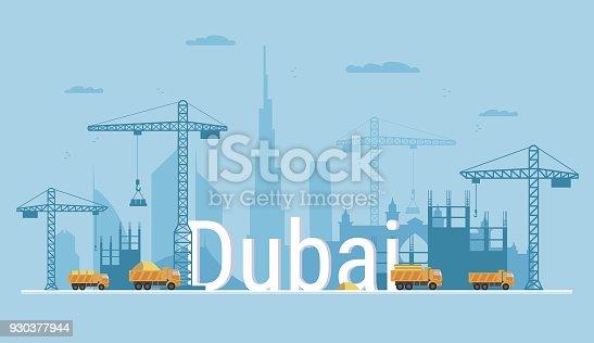 Ilustrao de cidade de dubai sob bandeira de conceito de construo ilustrao de cidade de dubai sob bandeira de conceito de construo em estilo simples construo de casas residenciais e escritrios ilustrao vetorial ccuart Gallery