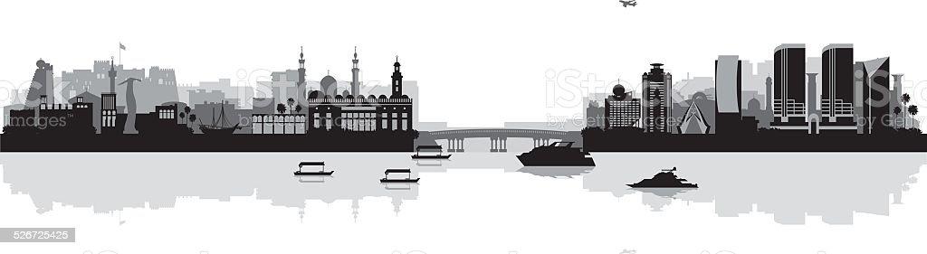 Dubai Deira and Bur Dubai skyline silhouette background vector art illustration