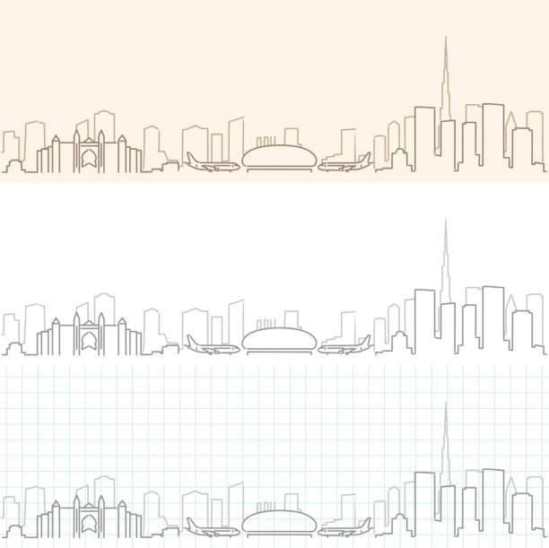 Dubai Hand Drawn Skyline Dubai Hand Drawn Skyline airport drawings stock illustrations