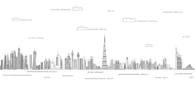 Dubai сityscape line art style vector detailed illustration. Travel background