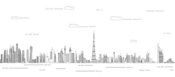 Dubai сityscape line art style vector detailed illustration. Travel background Dubai сityscape line art style vector detailed illustration. Travel background middle east stock illustrations