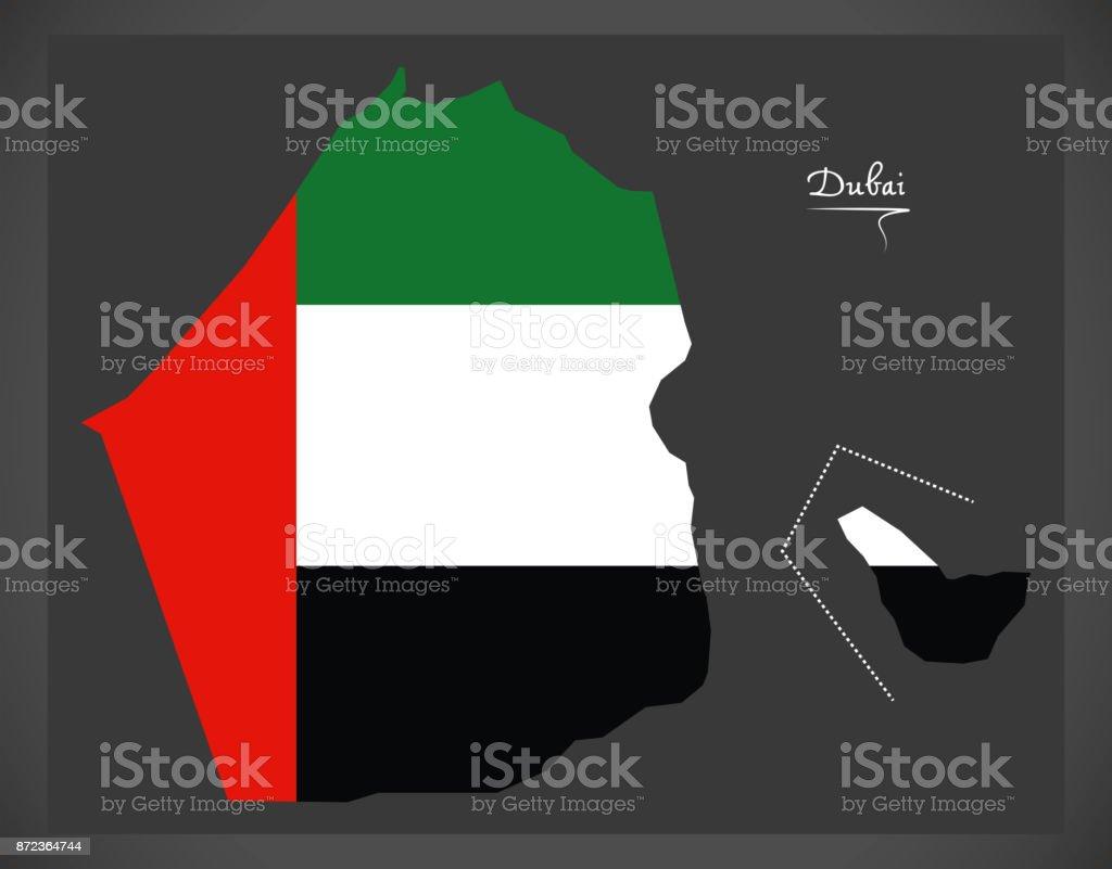 Dubai Map Of The United Arab Emirates With National Flag Illustration Stock  Illustration - Download Image Now