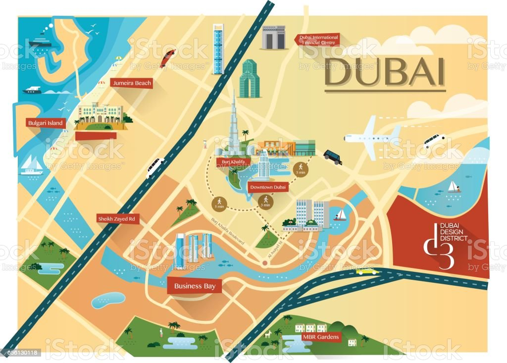 Dubai Map With Buildings Flat Stock Vector Art More Images of