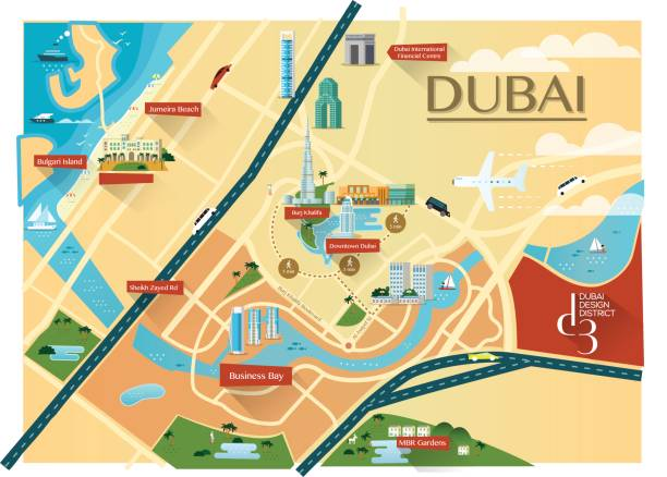 Dubai Map with buildings - Flat - illustrazione arte vettoriale