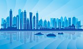 Dubai Marina City skyline silhouette background, vector illustration.