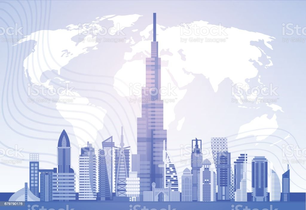 Dubai Skyline Panorama Over World Map, Modern Building Cityscape Business Travel And Tourism Concept vector art illustration