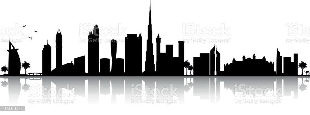 Dubai Skyline Silhouette schwarz – Vektorgrafik