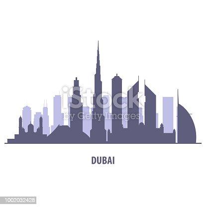 Dubai skyline silhouette - landmarks cityscape in liner style