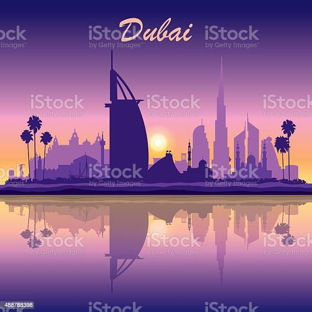 Dubai skyline silhouette on sunset background vector id488788398?b=1&k=6&m=488788398&s=612x612&h=s4u nv4zellsdvvypczkqmyfvkx wi 7pqfh gbdeee=
