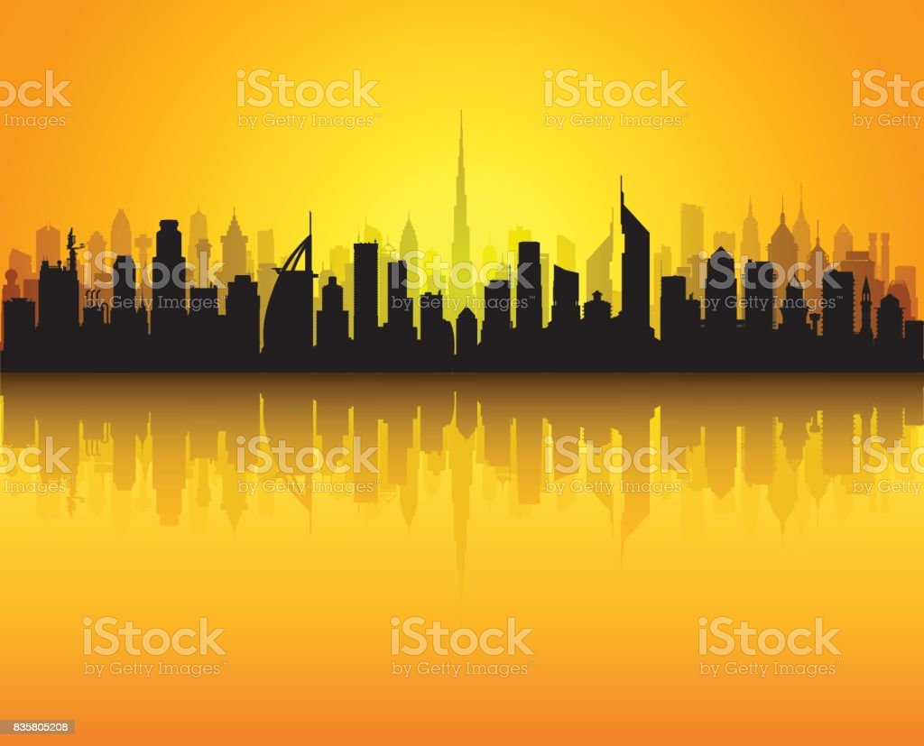 Dubai Skyline (All Buildings are Separate and Complete) vector art illustration