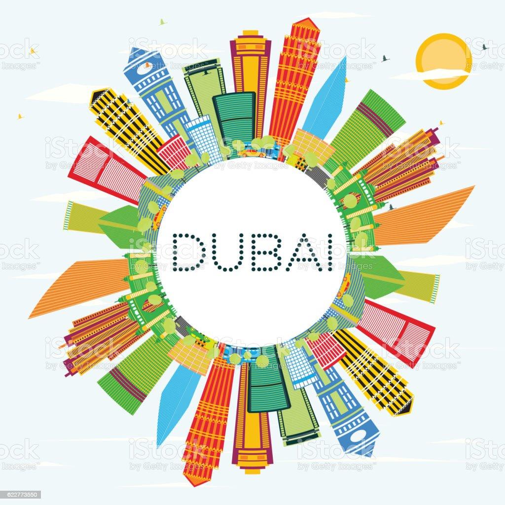Color art dubai - Dubai Skyline With Color Buildings Blue Sky And Copy Space Royalty Free Stock