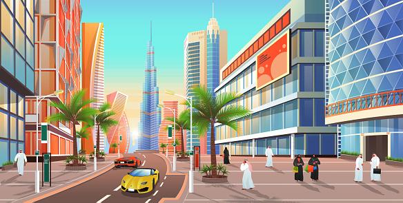 Dubai Street, Cityscape of UAE City Skyline Vector