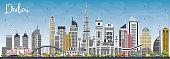 Dubai UAE Skyline with Gray Buildings and Blue Sky.