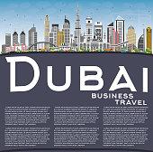 Dubai UAE Skyline with Gray Buildings, Blue Sky and Copy Space.