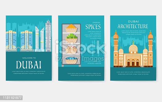Dubai vector brochure cards set. Country template of flyer, magazines, posters, book cover, banners. Travel invitation concept  background. Layout architecture illustrations modern