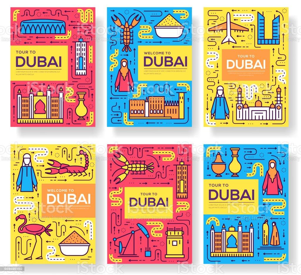 Dubai Vektor Broschüre Karten Dünne Linie Set Land Reisen Vorlage ...