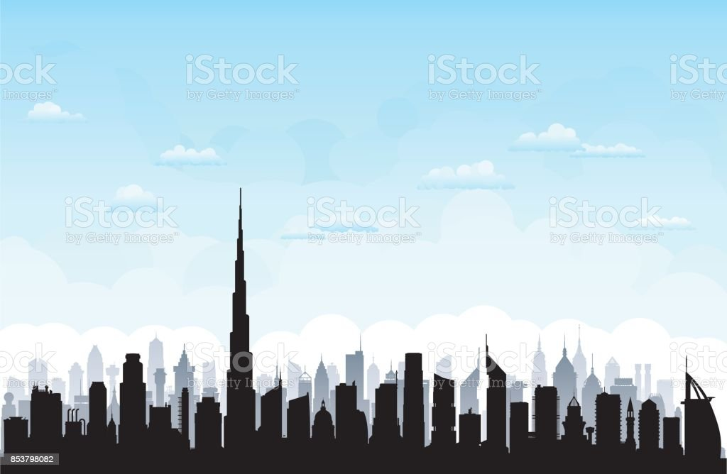 Dubai (All Buildings Are Moveable and Complete) vector art illustration