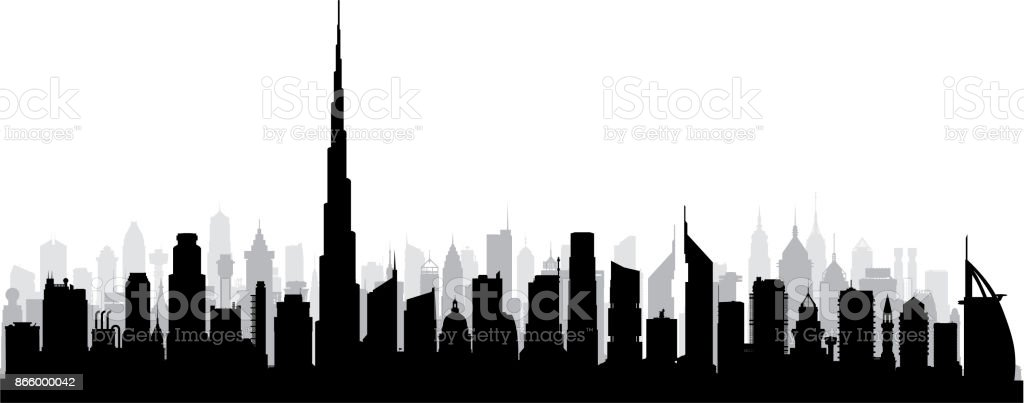 Dubai (All Buildings Are Complete and Moveable) vector art illustration