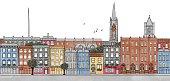 Dublin, Ireland - seamless banner of Dublin's skyline