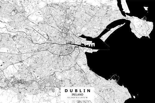Poster Style Topographic / Road map of Dublin, Ireland Original map data is open data via © OpenStreetMap contributors. All maps are layered and easy to edit. Roads are editable stroke.