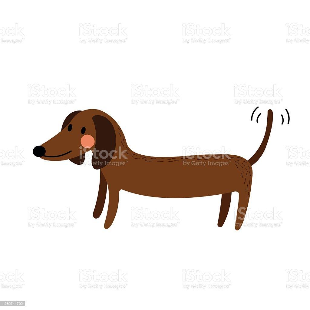 Duchshund side view animal cartoon character vector illustration. vector art illustration