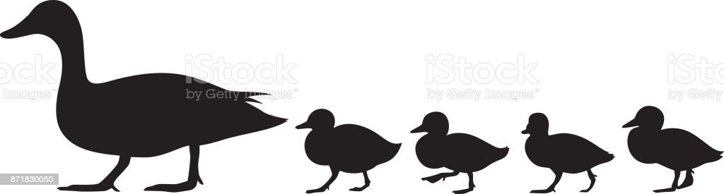 Duck and Ducklings Silhouette vector art illustration