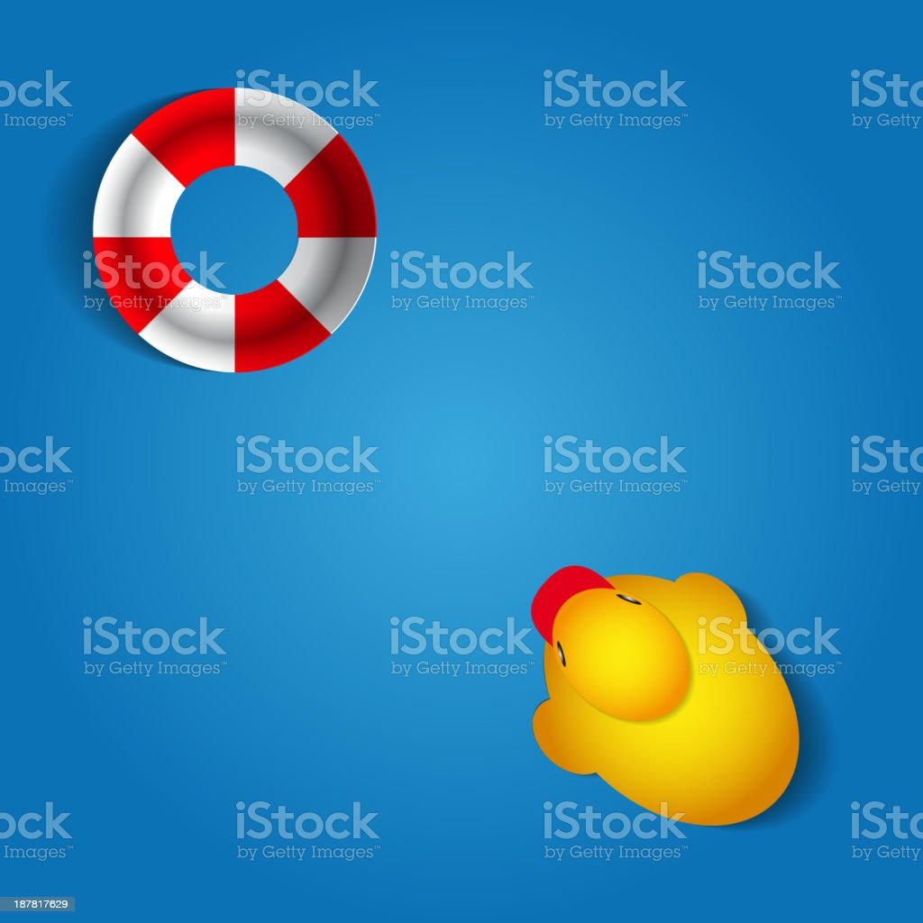 Duck and rescue wheel on blue background - vector illustration royalty-free stock vector art