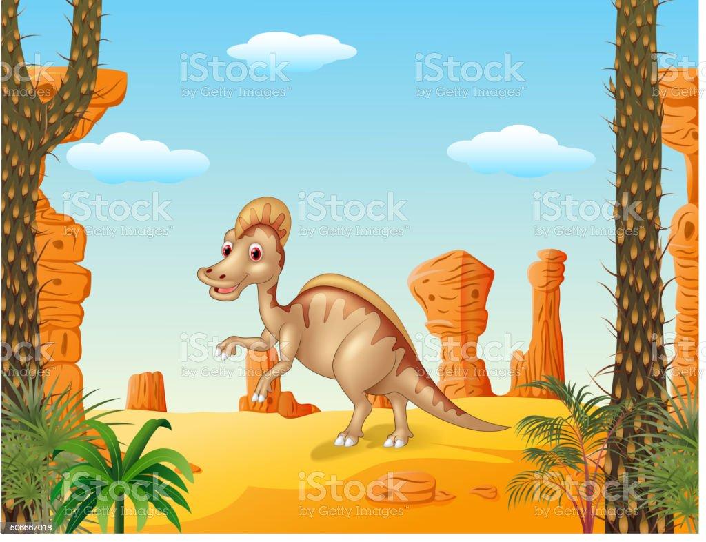 Duck billed hadrosaur in theprehistoric background vector art illustration