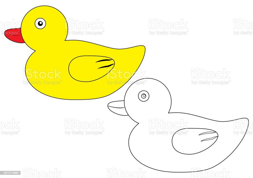Patos Para Colorear Para Para Con Para Vector Stock Sin: Ilustración De Pato Página Para Colorear Juego Para
