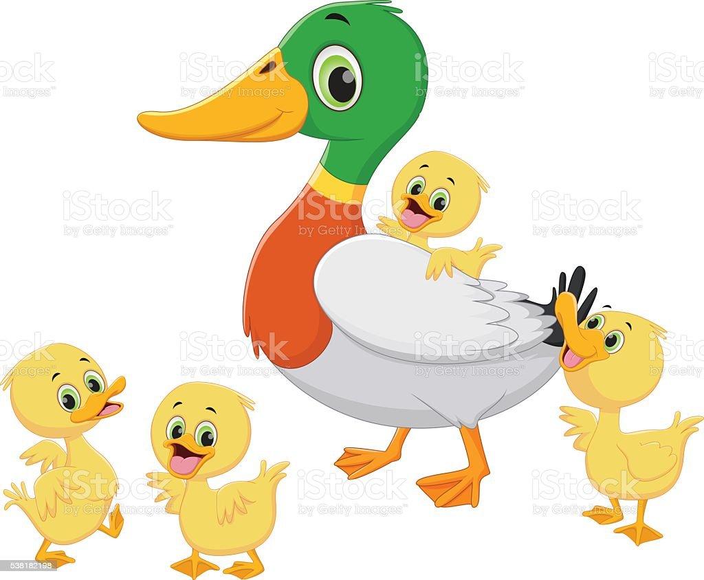 Duck family cartoon vector art illustration