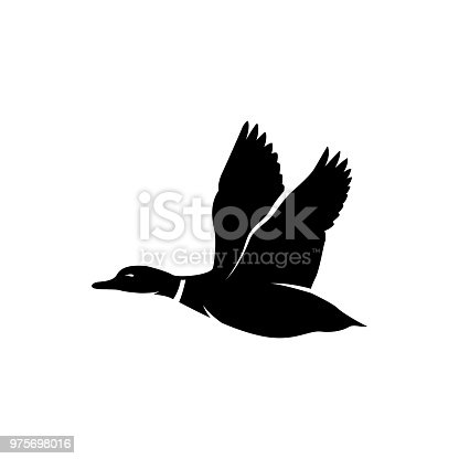 duck fly silhouette vector