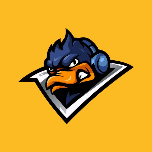 duck gaming Duck gaming mascot logo design vector with modern illustration concept style for badge, emblem and t-shirt printing. Angry Duck wearing headset for e sport ducking stock illustrations