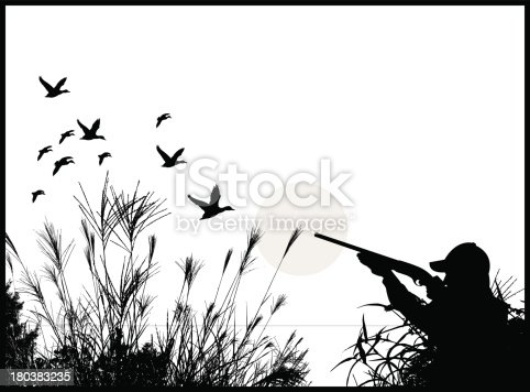 Duck Hunter - Hunting Background. Graphic silhouette illustration of a Duck Hunter - Hunting. Check out my