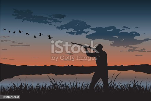 An illustration of a duck hunter at sunset.