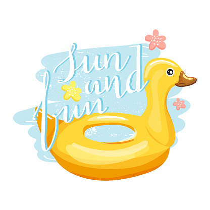 Duck inflatable swimming pool ring with trendy lettering.