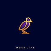 Duck Line Art Illustration Vector Template. Illustration Vector Template. Suitable for Creative Industry, Multimedia, entertainment, Educations, Shop, and any related business.